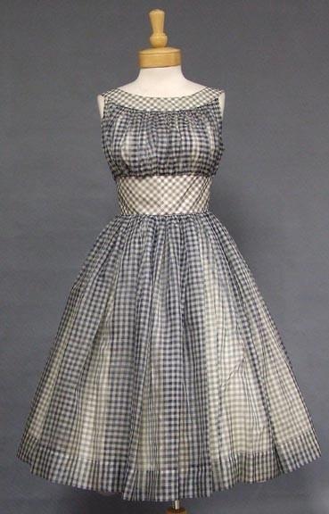 gingham vintage dress 1950s