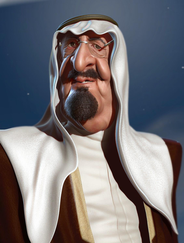 Art Of Petry King Abdullah Bin Abdulaziz Al Saud 3D Caricature