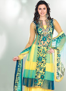 Resham Enhanced Pink Designer Suits and Dual Green Pakistani Suits