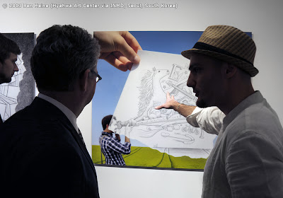 Discussion with Ambassador in Seoul François Bontemps: Ben Heine first Pencil Vs Camera Exhibition in Asia