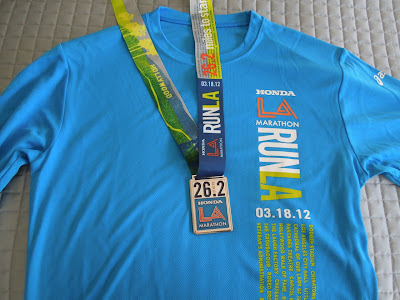 2012 LA Marathon medal and t-shirt