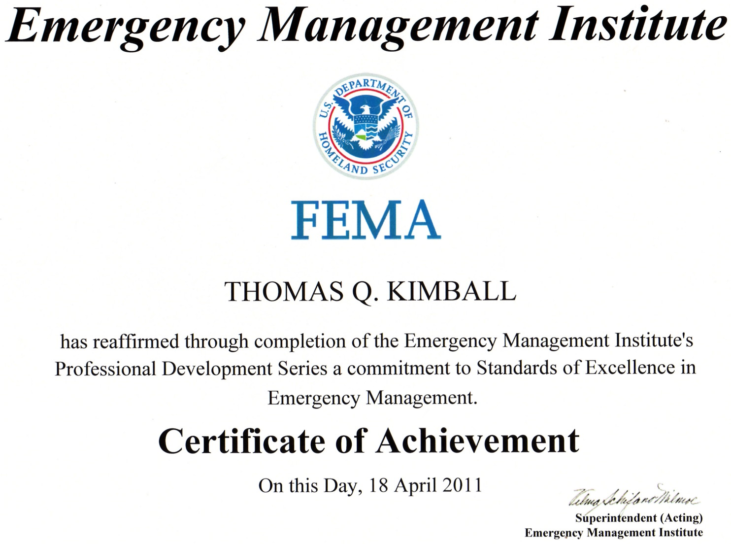 Thomas Quick Kimball WA8UNS Blog: FEMA Continuity of Operations Excellence SeriesLevel 1