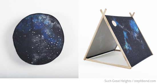 Cosmos cushion and a-frame tent by Such Great Heights in collaboration with Gemma Patford Cosmos