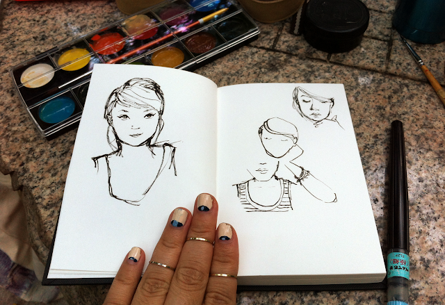 girl sketches nail art upper finger rings pentel brush pen