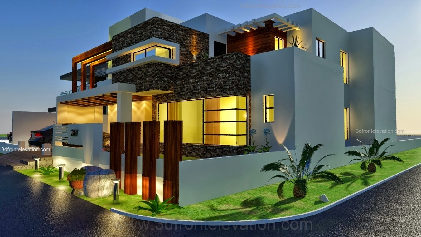3d front 1 kanal modern contemporary design for Home garden design in pakistan