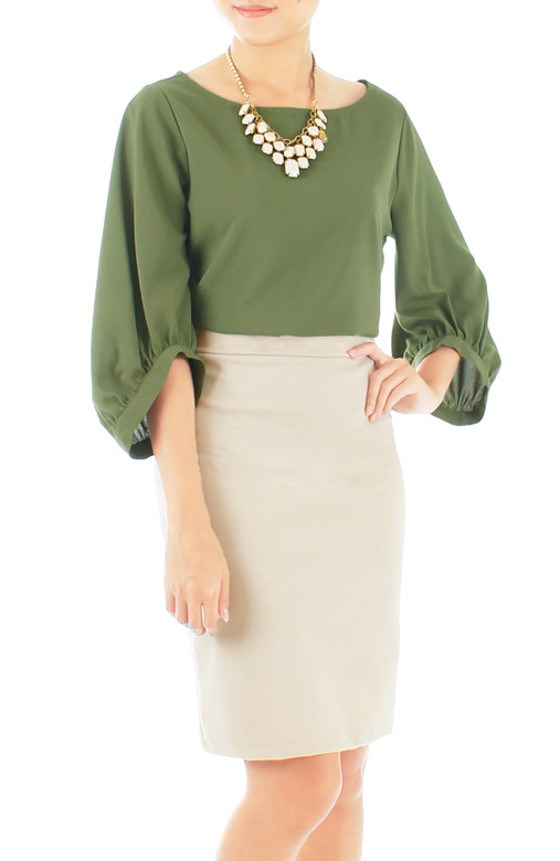 Morning Glory Scoop Sleeve Blouse