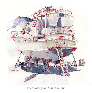 Pen & wash sketchbook drawing of a boat on dry land
