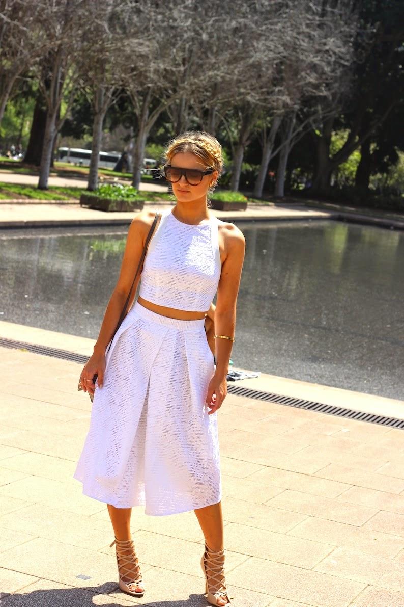 Sheike Two Piece White lace set Vogue Vandal Fashion Blogger Domenica Calarco Celine Shadows Sunglasses Vision Direct