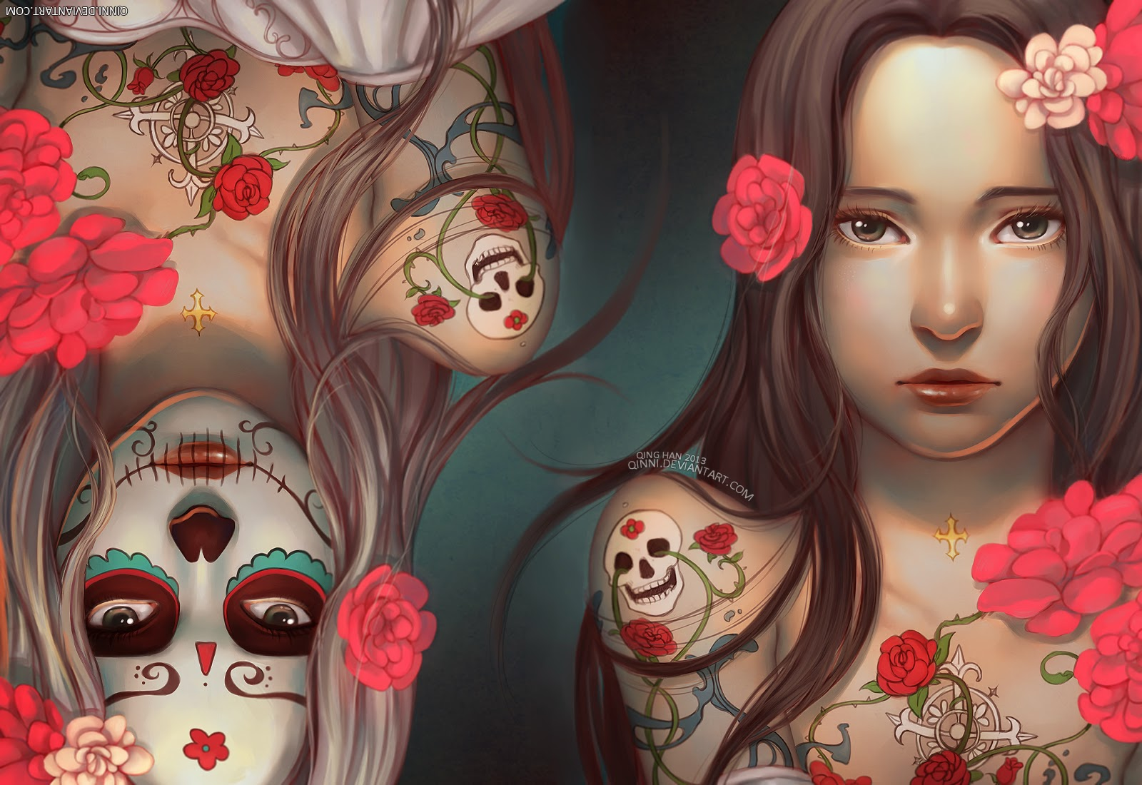 illustration de Qing Han de 2 femmes rendant hommage a los dias de la muerte