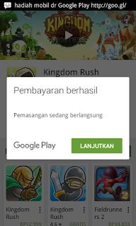 Pembayaran berhasil di Google Play Store Android Lanjutkan