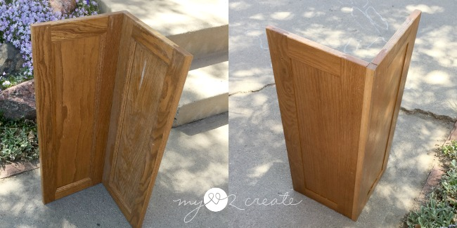 corner cabinet door before & Corner Cabinet Planter | My Love 2 Create