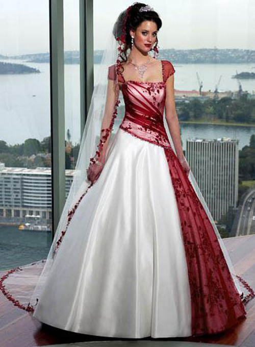 Red and white wedding dress designs for christmas day for White with pink wedding dresses