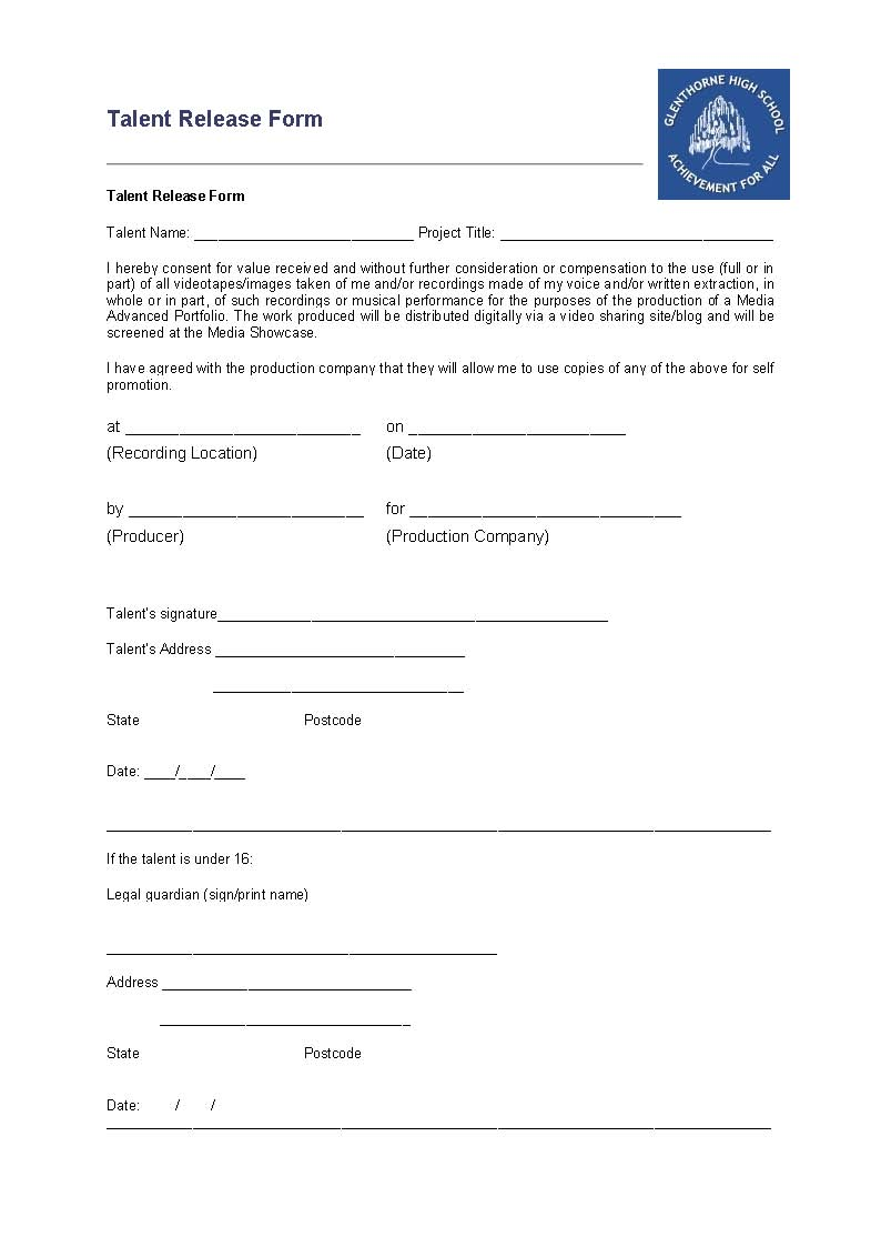 Luciie astwood task sixteen talent release forms this is the talent release form that i will need the band to sign when we start filming talent release form is used by producers to get permission for the pronofoot35fo Image collections