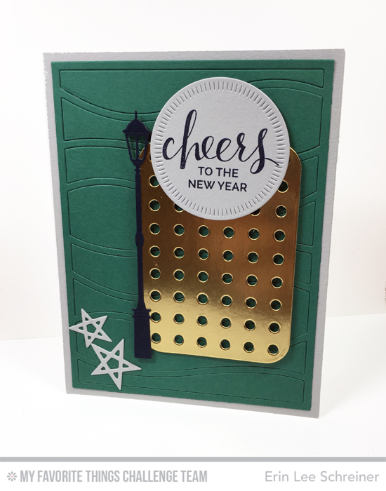 Cheers to the New Year Card by Erin Lee Schreiner featuring the Hand Lettered Holiday stamp set and the Streetlights, Snow Drifts Cover-Up, Lucky Stars, Blueprints 22, and Radial Stitched Circle STAX Die-namics #mftstamps