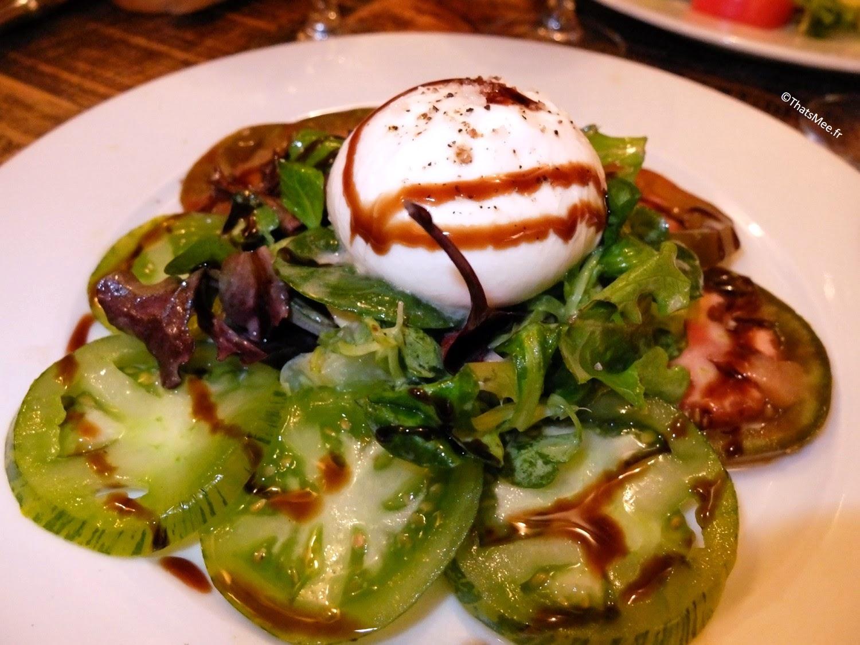 Resto bistro troquet Le Coude Fou Paris Marais, tomates raiches et burrata fondante, cuisine traditionnelle française Coude Fou
