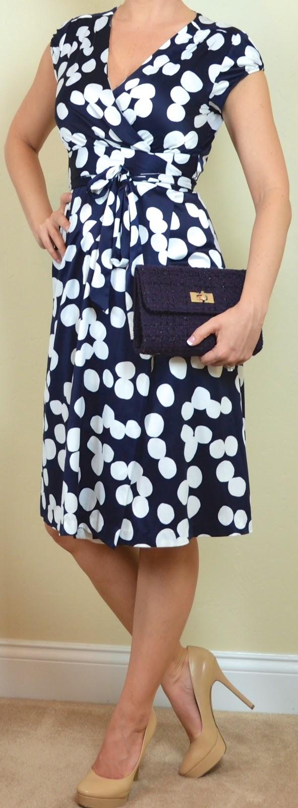 Outfit Post Navy U0026 White Polka Dot Dress Nude Heels ...