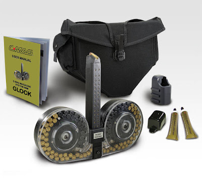... drum magazine compatible with 9mm Glock pistols. For all the details