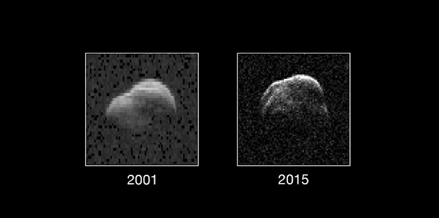On the left is a radar image of asteroid 1998 WT24 taken in December 2001 by scientists using NASA's the 230-foot (70-meter) DSS-14 antenna at Goldstone, California. Image credit:NASA/JPL-Caltech/GSSR/NRAO/AUI/NSF