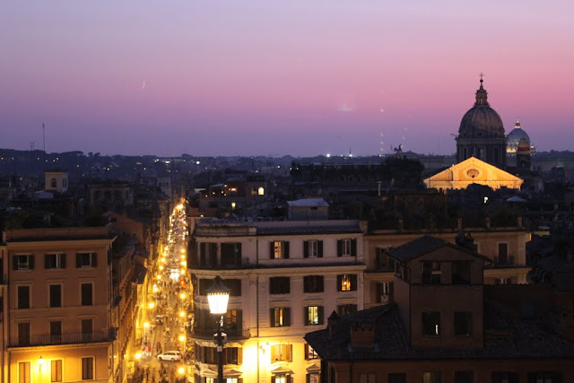 An evening view of Rome from the top of Spanish Steps in Italy