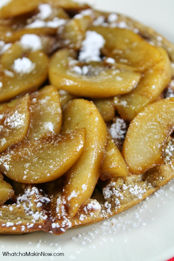 Oatmeal Waffles with Caramelized Pears -- Perfect breakfast for Christmas morning...or any morning.