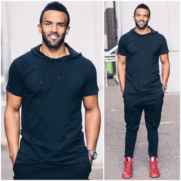 Craig David wears Giuseppe Zanotti red side zipped sneakers at ITV Studios London 6th October 2014