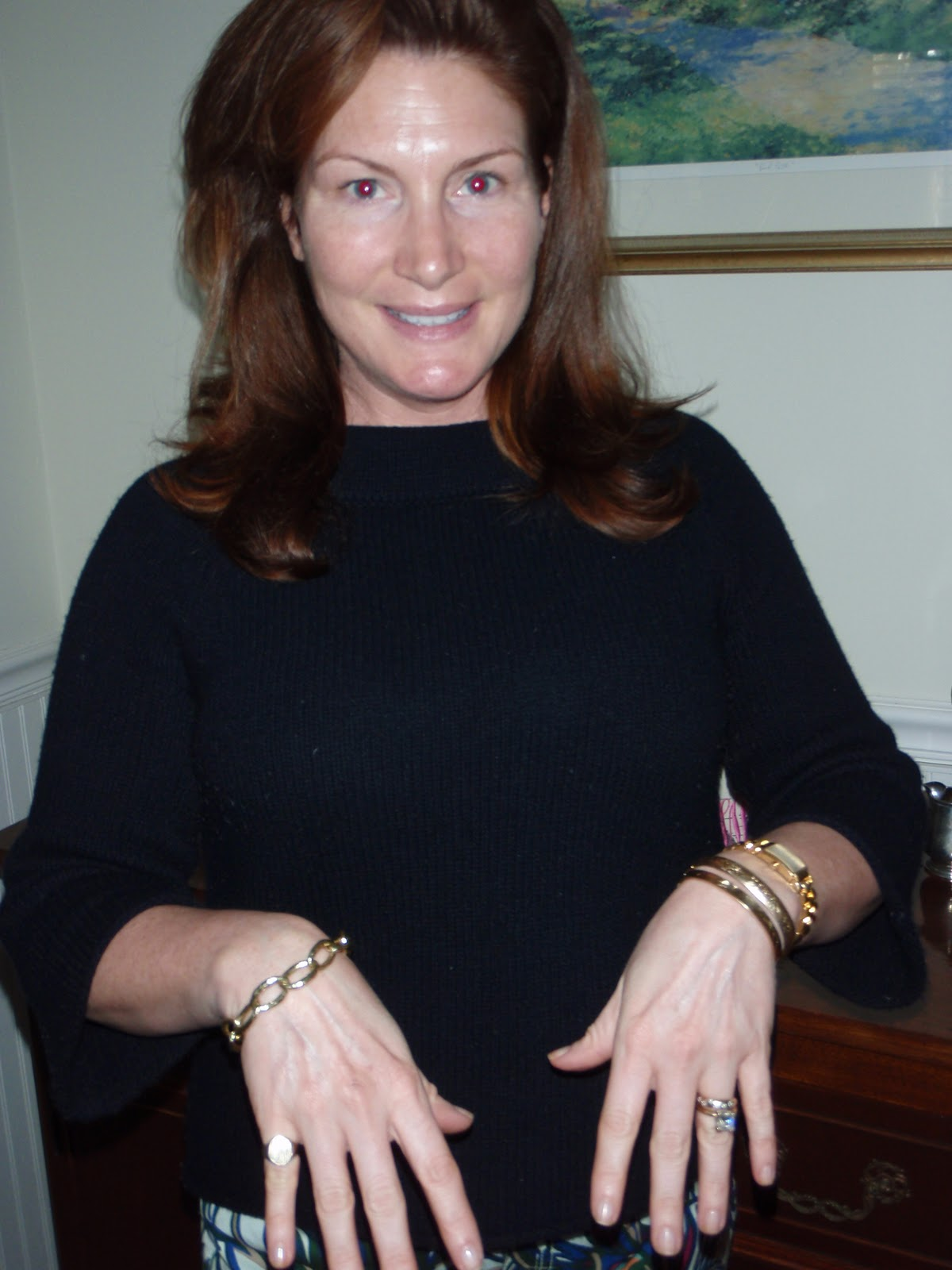 Left Hand: Daimond Ring And Wedding Band Gold Tank Watch And Two Bangles  Right Hand Gold Signet Pinky Ring, Gold Chain Bracelet