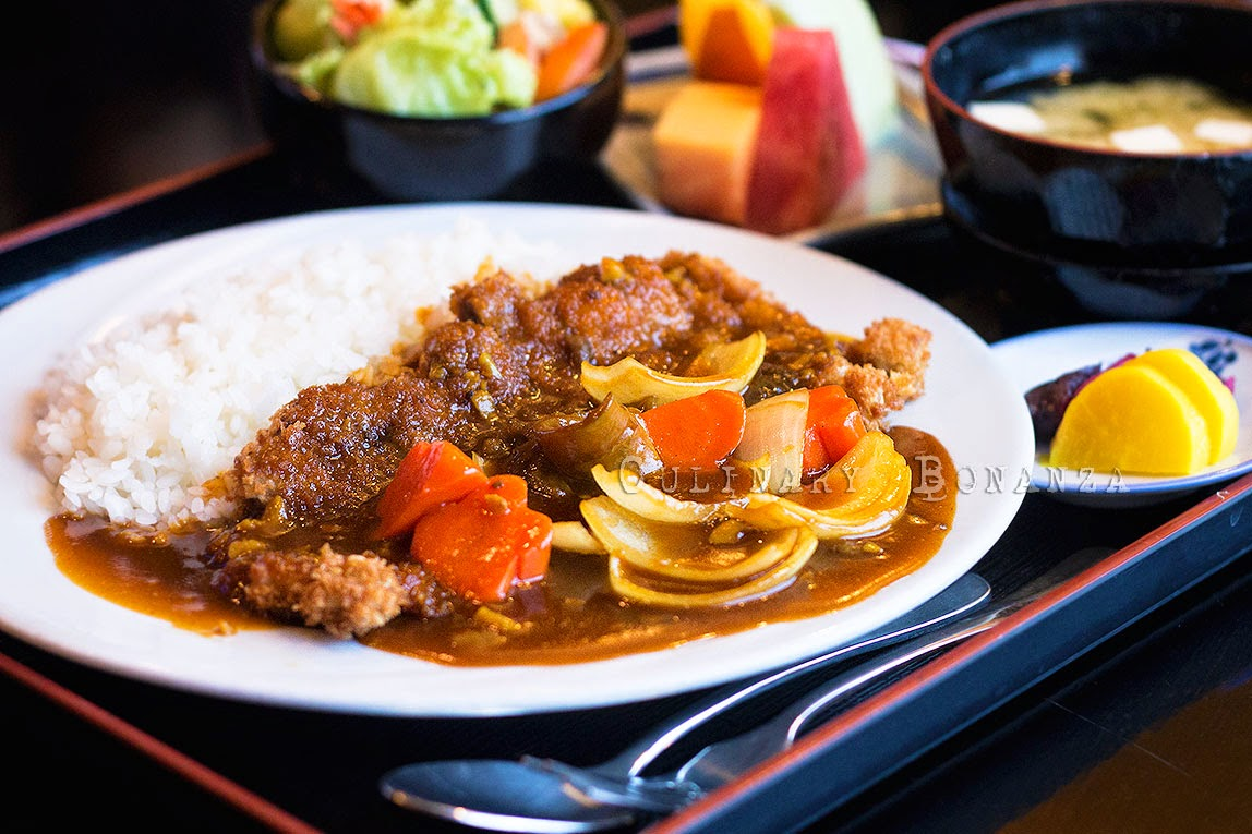 Beef Katsu Curry Rice Teishoku (beef katsu with curry, rice, misoshiru, salad & sliced fruit)