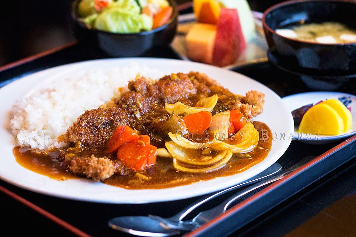 Beef Katsu Curry Rice Teishoku (beef katsu with curry, rice, misoshiru, salad & sliced fruit)