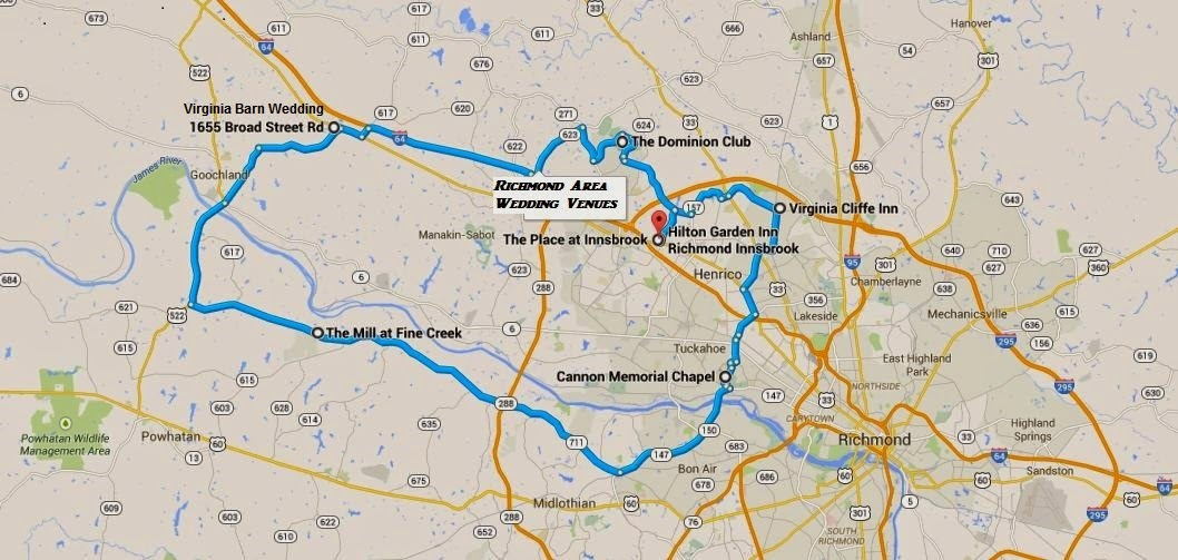 Map of Richmond Virginia Wedding Venues