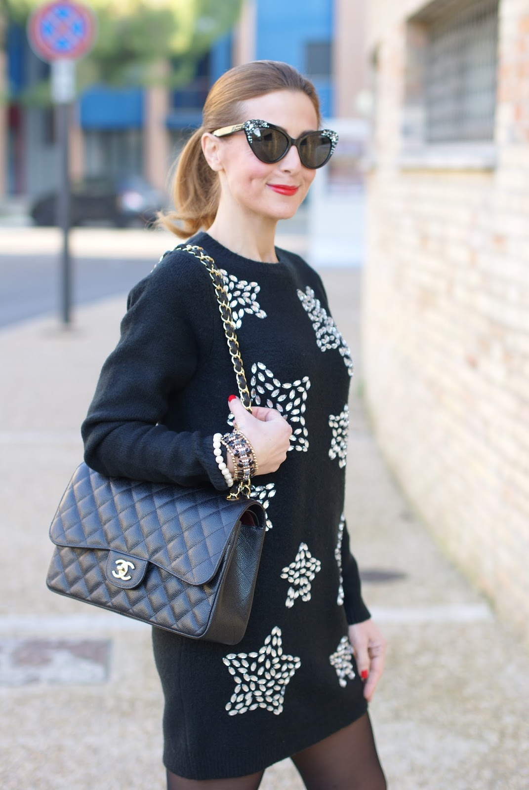 starry jeweled Asos dress, and chanel 2.55 bag on Fashion and Cookies fashion blog, fashion blogger style
