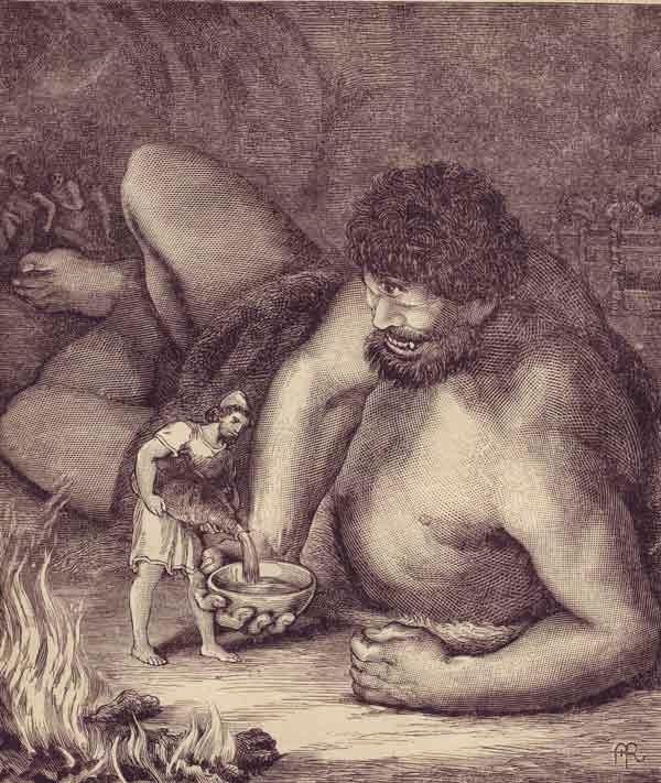 Ulises ofrece vino a Polifemo