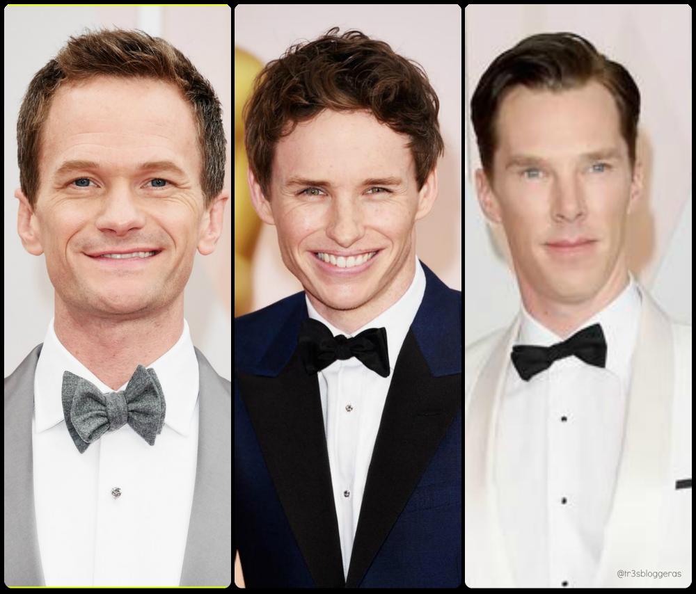 Neil Patrick Harris, Eddie Redmayne, Benedict Cumberbacht Oscars 2015 bow tie pajarita elegancia estilismo carpeta roja red carpet