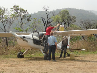 Tom Needham, a Missionary in Cameroon, hard at work with his Sportsman and GlaStar Aircraft