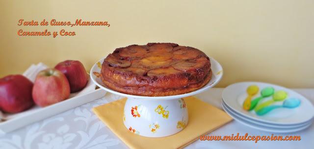 Tarta de queso,manzana,caramelo y coco