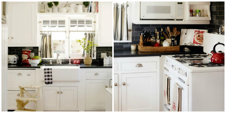 Coastal cottage kitchen in white, black and red