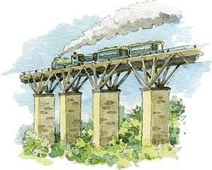 Drawing of train crossing an old fan viaduct