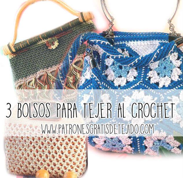 3 bolsos para tejer con crochet con explicacion en español