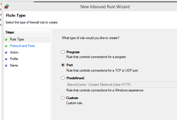 Windows server Firewall New Inbound Rule Wizard