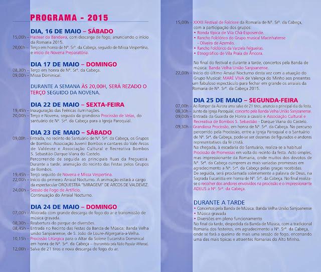 Programa da Festa da Sra da Cabeça em Freixieiro de Soutelo 2015