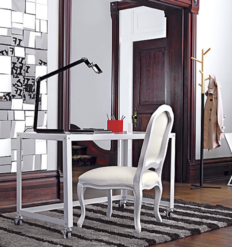 thinking about re doing the home office and in a small place its all about versatility cb2 is offering a nice mobile desk perfect for a work station cb2 office