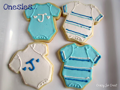 Baby boy cookies for a baby shower
