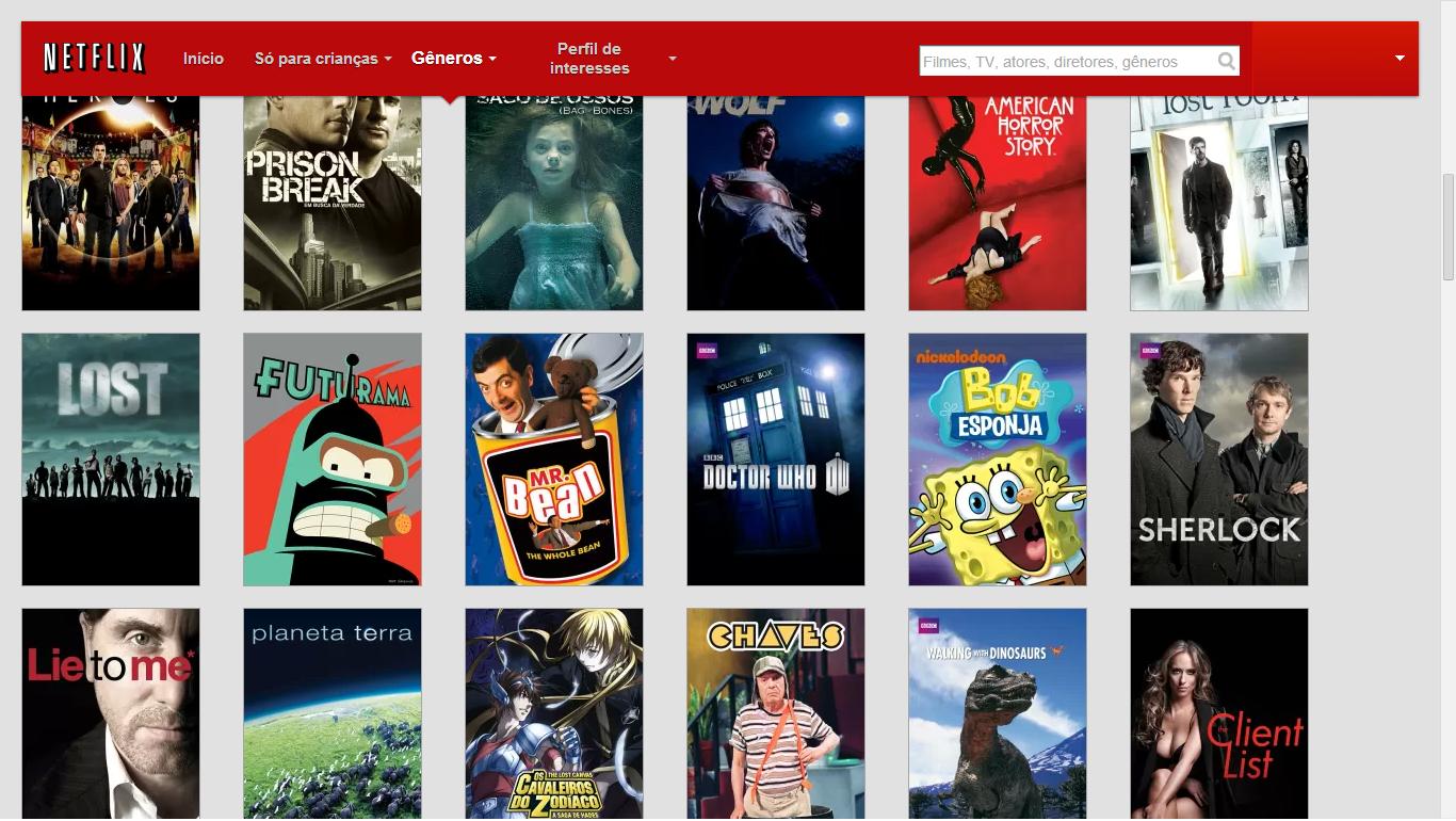 Exemplo da Lista de seriados da Netflix