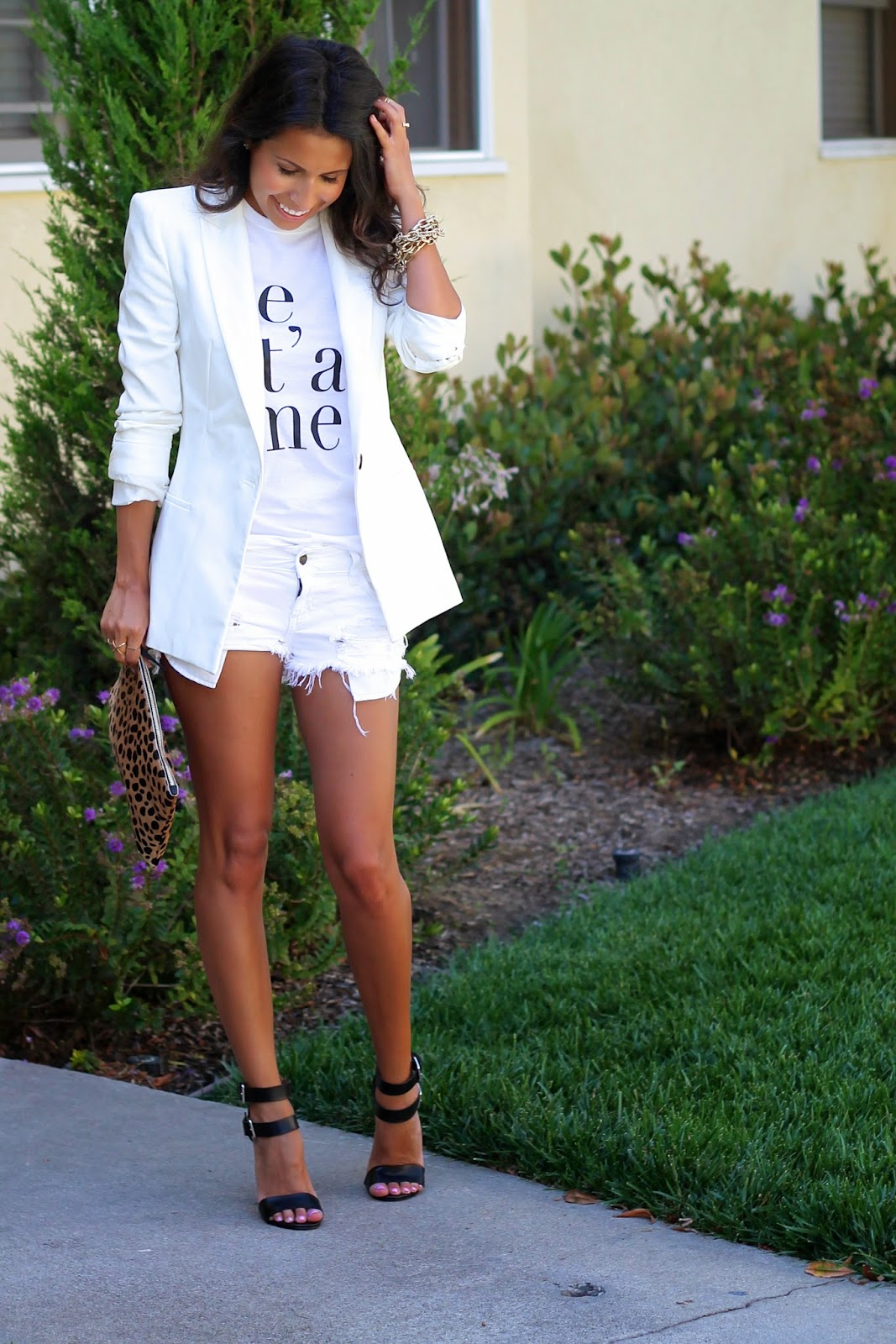 all white outfit, graphic tee, what is fashion, white blazer