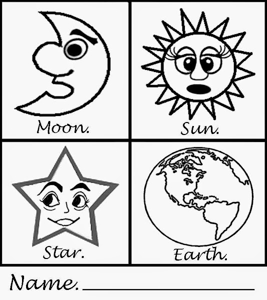Fun to draw cute cartoon animal drawings for Sun moon and stars coloring page