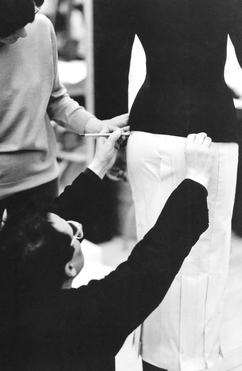 Azzedine Alaia working on a skirt from his spring 1992
