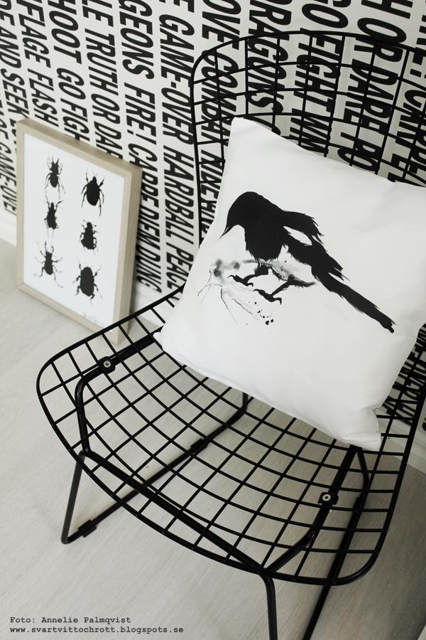 kudde med tryck, kuddar med svartvitt motiv, skata på kudde, konst, skator, fågel, fåglar, motiv, webbutik, webbutiker, webshop, svart och vitt, svartvit tapet med text, grafiskt, grafisk, grafiska, tavla med skalbagge, skalbaggar på tavlor, poster, posters, print, prints, konsttryck, artprint, artprints, tavlor, eiffeltornet i inredningen, dekorera med eiffeltorn, kaktus, monstera, växter, blommor, inredningsdetaljer, inredning, inredningsblogg, bloggar, annelie palmqvist, vitt, vit, vita, nettbutikk, nettbutikker,