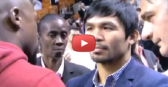 Face Off: Manny Pacquiao and Floyd Mayweather Jr. At Heat/Bucks Game (PHOTOS & VIDEO)