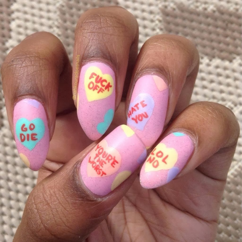 Anti Valentine S Day Candy Heart Nails Dr Heckle