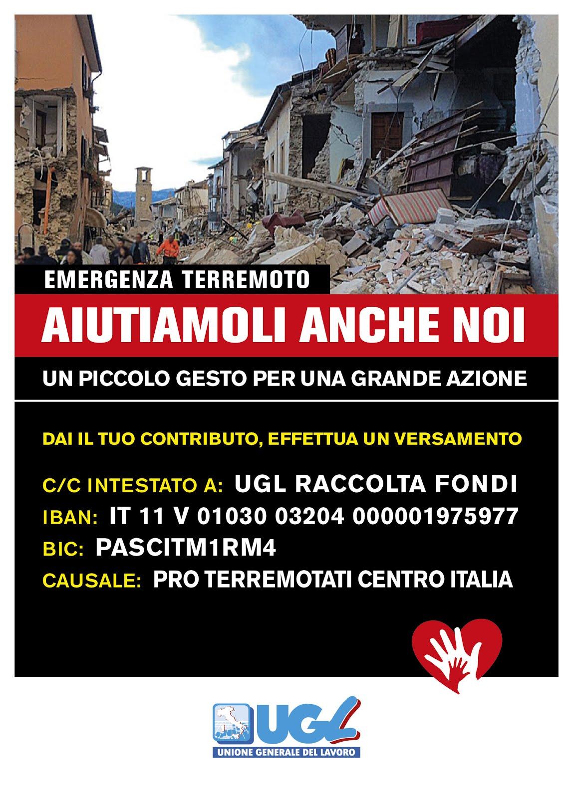 raccolta fondi pro terremoto