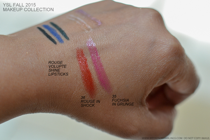YSL Fall 2015 Makeup Collection Rebel Metal swatches Rouge Volupte Shine Lipsticks 36 Rouge in Shock 35 Fuchsia in Grunge